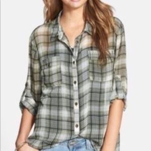 Band of Gypsies Plaid Chiffon Tab Sleeve Blouse